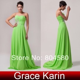 Grace Karin Stock Strapless Chiffon Floor Length Long prom Party Gown Formal Evening dresses  CL4505