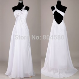 Grack Karin One shoulder Chiffon Celebrity Dress Long Evening Party Prom Gown White Formal Dresses  CL3122