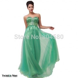 Stock Strapless Sweetheart Floor Length Long Design Formal Evening dress Women Green Prom Party Gown CL6063 (AL12)