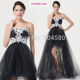 Sweetheart Tulle Appliques Short Front Long Back Prom dress Sleeveless Evening dresses Bandage Formal Gown  CL6191