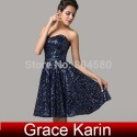 Free shipping Strapless Sequins Short-Length Lady Dress homecoming party dresses evening gowns Formal Prom dress CL6133 (AL12)