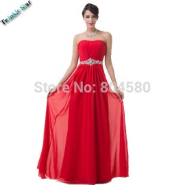 Gorgeous  Actual Images Floor Length Empire Red Chiffon Long prom dress Party Evening Gowns Elegant Formal dresses CL6229