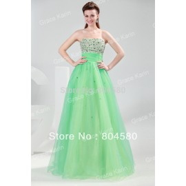 Grace Karin  Beautiful Sleeveless Floor-Length Decorated With Beading Chiffon Prom Dresses Long Evening Gown CL4424