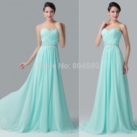 Grace Karin Chiffon Sexy Strapless Sleeveless Elegant A-line  Formal Prom Dresses Women Long Evening Party Gown CL6230