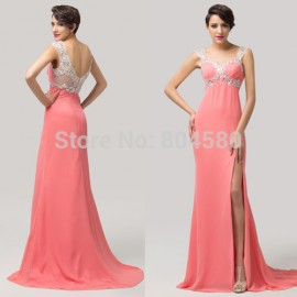 Grace Karin Elegant Red Carpet Evening Party Gown Blue Pink Long Chiffon Crystal Sleeveless homecoming Prom Dress  CL6113
