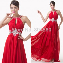 Grace Karin Fashion A Line Floor Length Cheap Evening dress Beads Formal Occasion Gown Long Party Prom dresses CL6184