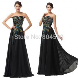 Grace Karin Fashion  Summer Autumn Peacock Black Evening Dresses Women Fashion Long Chiffon Maxi Party Prom Gowns CL6168