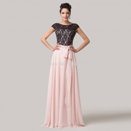 Grace Karin Floor Length Cap Sleeve Black Lace Applique Formal Gowns Long Chiffon Evening Prom dresses  CL6152