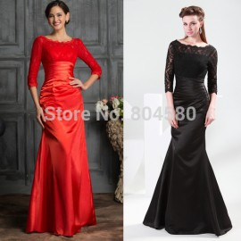 Grace Karin Floor Length Mother of the Bride dresses Black Red Color Long Sleeve Lace Prom dress Formal Evening Gown CL4524