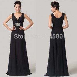 Grace Karin Floor length Deep V-Neck Black Special Occasion Dresses Formal Celebrity dress Long evening gowns CL6159