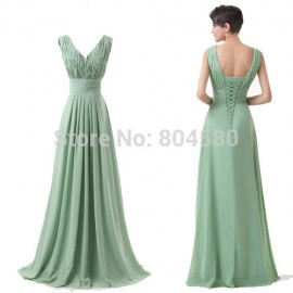 Grace Karin Full Length Deep V Neck Chiffon Evening dress Formal Prom Gown Long Party dresses CL6205