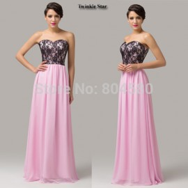 Grace Karin In Stock Strapless Lace Embroidery A Line Pink Chiffon Formal Evening Gowns Long Prom dresses for Women Party CL6142