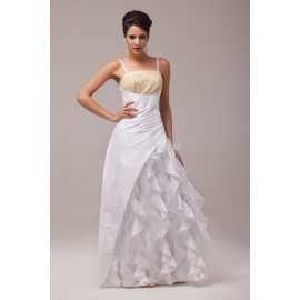 Grace Karin Long Design Strapless Spaghetti Straps White Evening Dresses formal Dinner Party Gown CL6000