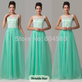 Grace Karin  Fashion Floor-length Chiffon Green Lace evening gowns Long Celebrity Prom dresses Women party dress CL6108