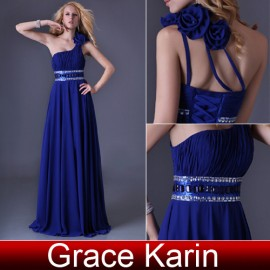 Grace Karin One Shoulder Floor Length Royal Blue Chiffon Prom Dress Elegant Women Fashion Evening Dress Party Gown CL3516