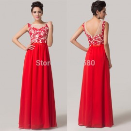 Grace Karin Real Imagine Cap Sleeve Red Chiffon Lace Appliques Formal Occasion Long Evening dress Women Party Prom Gown CL6148