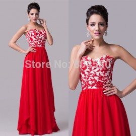 Grace Karin Red Appliques   Empire A Line Slim Chiffon evening dress Floor Length prom Gown Formal Party dresses CL6175