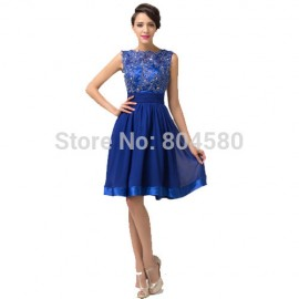 Grace Karin Sexy Women Scoop Backless Formal Evening Party Gown Cheap short prom dresses Cap Sleeve winter ball dress CL6132
