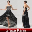 Grace Karin Short Front long Back Chiffon Celebrity dresses Women Homecoming party Gown Black evening dress Formal  CL6166