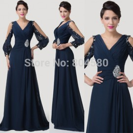 Grace Karin Stock Floor Length Long Sleeve Formal Evening dress Mother of the Bride dresses Women Long Prom Party Gown CL6220