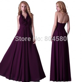 Grace Karin Stock Halter Floor LengthChiffon Mother of the Bride dress Long prom party gown Purple evening dress   CL3435