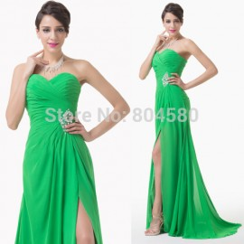 Grace Karin Stock Off the Shoulder Slit Long Chiffon Evening Formal Party Gown Sexy Women Fashion Green Prom dresses  CL6233