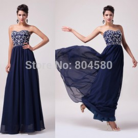 Grace Karin Stock Strapless Floor length Chiffon Celebrity dresses elegant formal evening gowns dresses long gown party CL6050