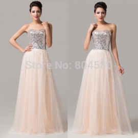 Grace Karin Strapless Floor Length Beaded Sequins Long Evening Club Gown Party Women ly Formal Homecoming Prom Dresses CL6109