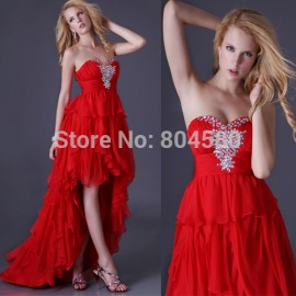 Grace Karin Sweetheart Short Front Long Back Women Chiffon Party Gown High-Low Formal Evening Dress  Prom dresses Red CL3517