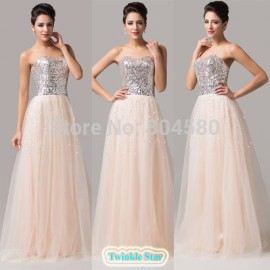 Grace Karin Tulle Floor Length Women Festival Evening Dress Formal Party Prom Ball Gown Sequins Long Pageant Dresses  CL6109