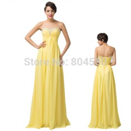 Grace Karin Yellow Beads Long Chiffon Celebrity dresses Lace Up Back Formal Women party dress Evening Prom Gown CL6119