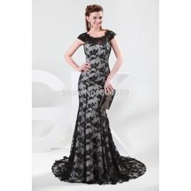 Grace Karin cap sleeve floor-length appliques lace long evening dress   fashion formal prom dresses CL4422