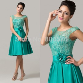 Grace Karion Sleeveless women Lace prom Bandage dress short evening gowns sexy mother of the bride dresses CL6116