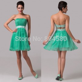 Grace Karion Strapless Knee Length Green Backless Special Occasion Dresses Chiffon Cocktail Dress Short party Gown CL6105