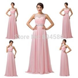 Grace karin Backless Chiffon Beaded Straps Pink Chiffon Celebrity dress Formal Evening Dress Red Carpet dresses CL6112