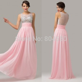 Grace karin Beaded Scoop Neckline Transparent Back Formal prom dress Chiffon Pink Evening Dresses Long Party Gown CL6110