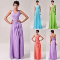 Grace Karin Blue Purple Long Chiffon Prom dresses 2015 Fashion Sleeveless V Neck Wedding Party Gown Bridesmaid Dress Sale CL6010
