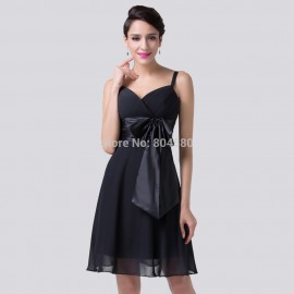 Grace Karin Fashion Style Casual V neck Chiffon Little black dress A Line Prom dresses Short Formal evening gowns 6180