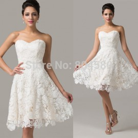 Grace Karin Knee Length Women Short Evening Gowns White Lace Prom Dresses Party Gown Discount Special Occasion dress CL6126