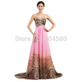 Grace Karin Sexy Women Leopard Pattern Prom dress Chiffon Long Evening Gown 2015 Party dresses Corset Formal Gowns Empire CL7558