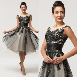 Grace Karin Stock Mid Calf Cap Sleeve Evening dress Party Gown Mother of the Bride dresses Women Long Prom Gowns C7581