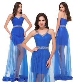 Grace Karin Women Long Evening Dress for Prom Blue Transparent Floor Length Formal Party Gown Celebrity dresses Beach Ball C8920