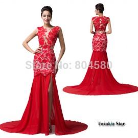 Gracekarin Scoop Floor Length Lace Applique Red Split Mermaid Evening dress Sleeveless Formal Occasion Celebrity Dresses CL6120