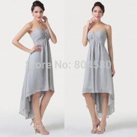 Grey Autumn Strapless Women Casual Homecoming Party Dress Short Front Long Back Evening Prom dresses Gown Lace-Up Back CL6216