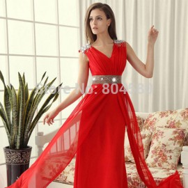 High Quality Grace Karin Stock Korean Chiffon Floor Length Formal Party Gown Red Blue Prom Dress Evening dresses stock CL3403