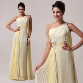 High Quality Grace Karin Stock One shoulder Evening Dress Long Maxi Chiffon Celebrity Dresses  CL6066