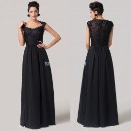 High Quality Floor Length Cap Sleeve Party Prom Dress Long Black Lace Formal Evening Gown Women Mother of the Bride dresses 6127
