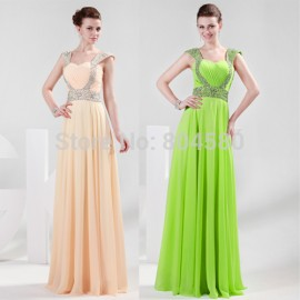 Hot Bead Strapless Floor Length Lady Dress Chiffon Prom dresses Formal dress Party Evening Elegant CL4446