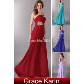 Hot Design Grace Karin Floor length One shoulder Chiffon Celebrity dresses Long Prom Dress Party Evening gown Elegant CL2949