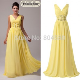 Hot Grace Karin Deep V-Neck Chiffon Long Prom dresses Formal Evening Dress women Gowns 8 Size US 2~16 CL6014